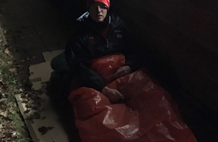 Michael sleeping out